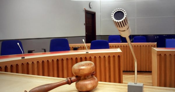interior of an empty modern courtroom